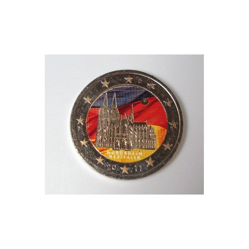 Colorierte 2 Euro Sondermünze Deutschland 2011 D Köln