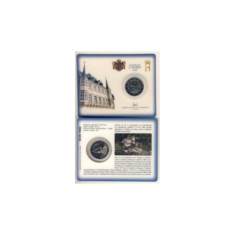 2 Euro Coincard Sondermünze Luxemburg 2008chateau De Berg