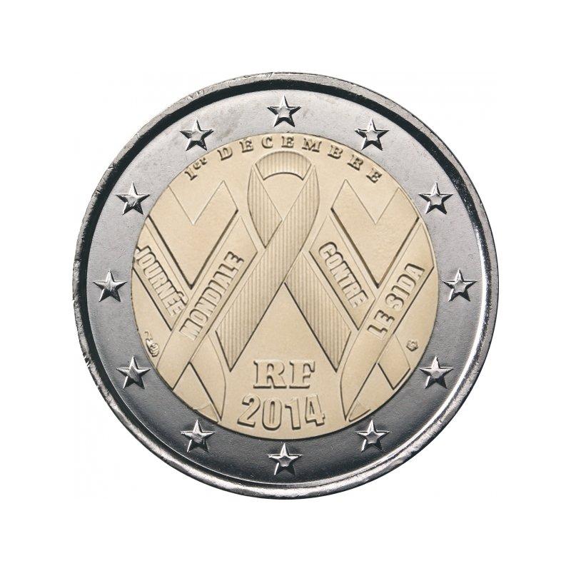 2 Euro Sondermünze Frankreich 2014welt Aids Tag 3
