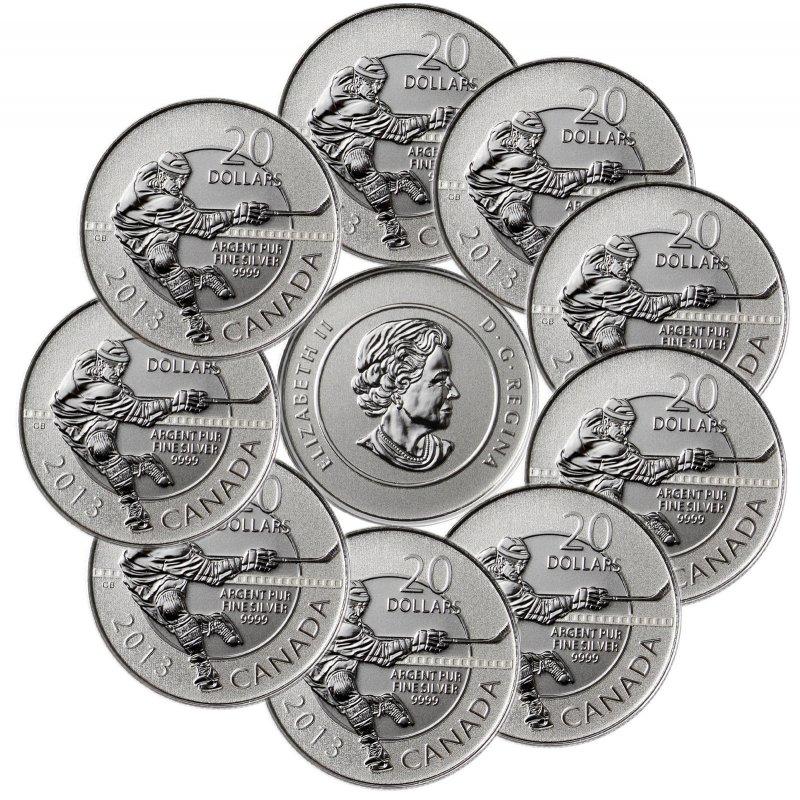 20 Dollar Silbermünze Kanada 2013 Eishockeyst Im Bli