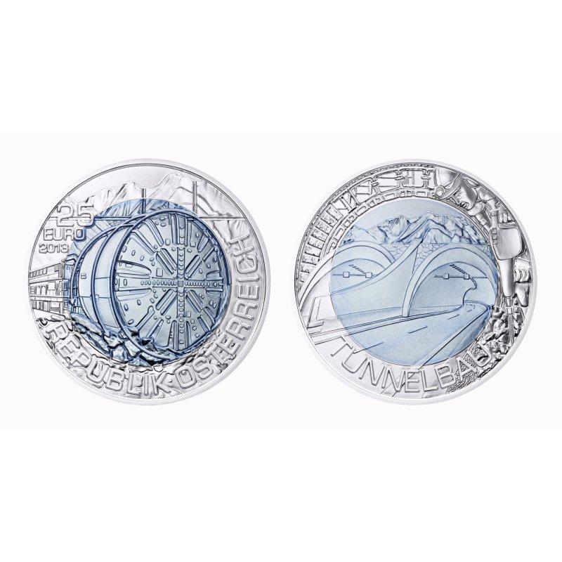 25 Euro Niobmünze österreich 2013 Tunnelbauhgh