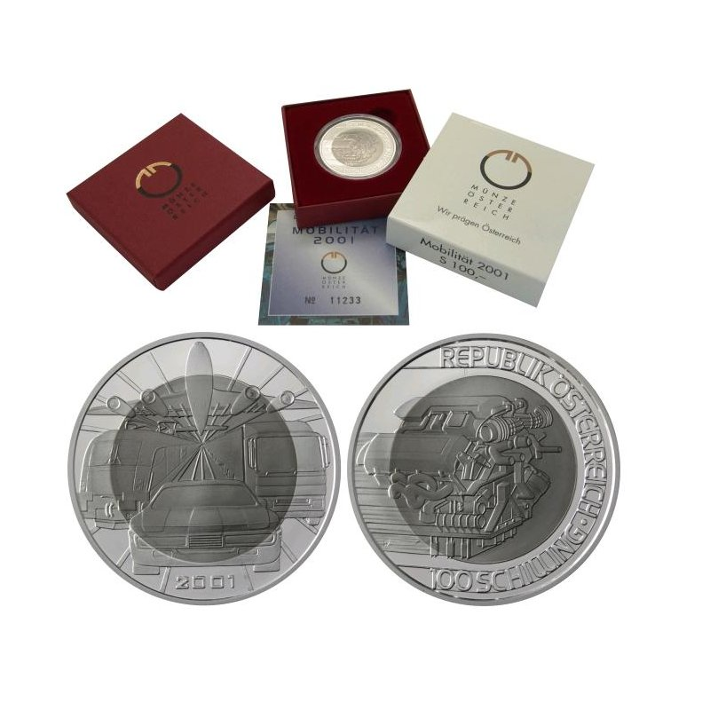 100 Schilling Bimetall österreich 2001 Mobilitätquot