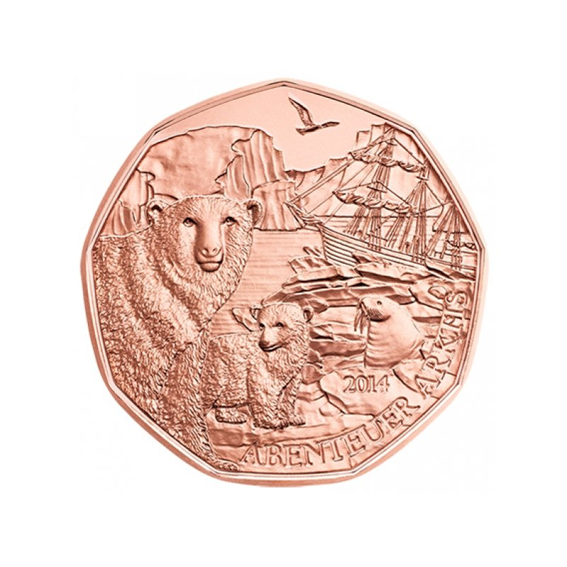5 Euro Kupfermünze österreich 2014 Abenteuer Arktisq