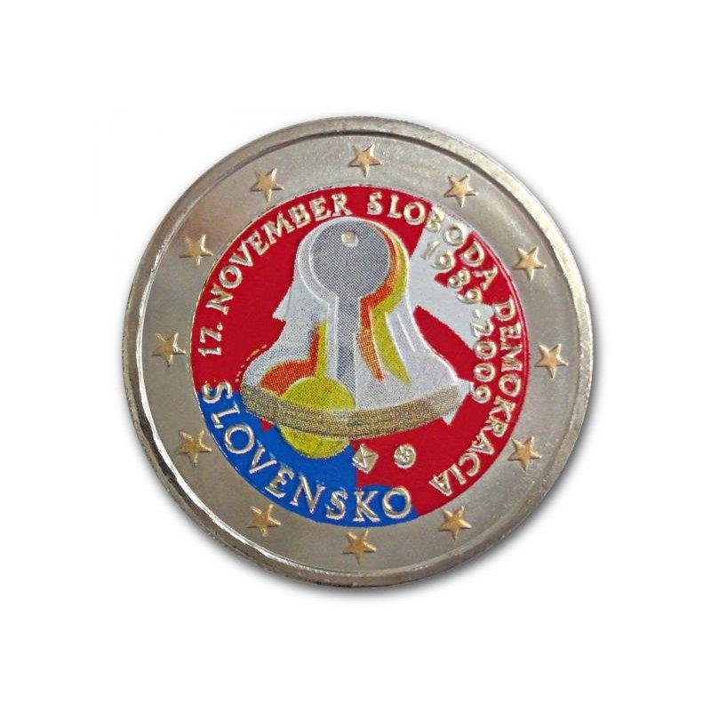 Colorierte 2 Euro Skm Slowakei 2009demokratie 990 Euro