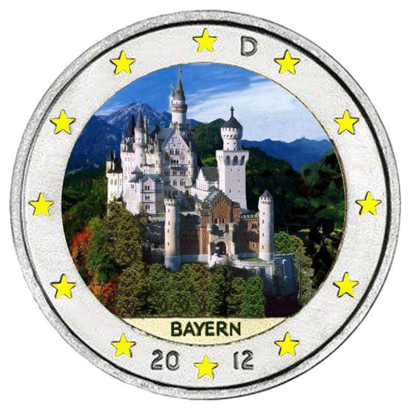 Colorierte 2 Euro Sondermünze Deutschland 2012 J Bayernqu