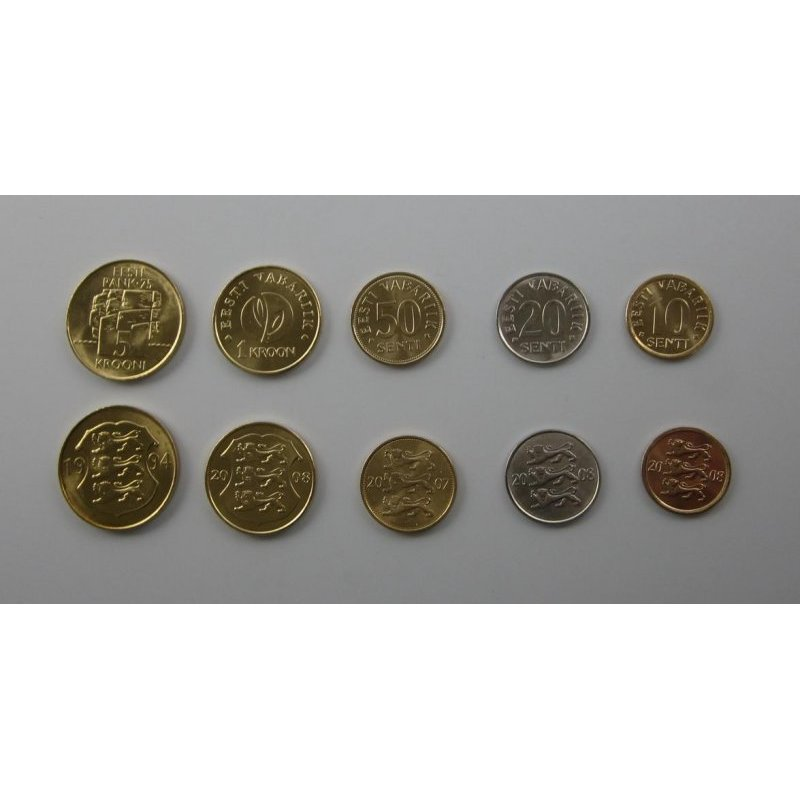 Kms Estland 1994 2008 5 Krooni 10 Senti 5 Münzen 311