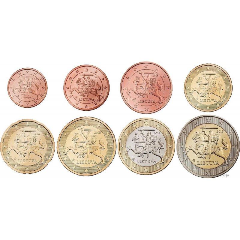 Kms Litauen 2015 388 Bankfrisch 1 Cent 2 Euro 649