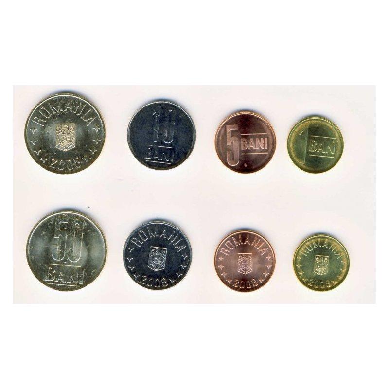 Kms Rumänien 2005 2008 1 Ban 50 Bani 4 Münzen 156 Eu