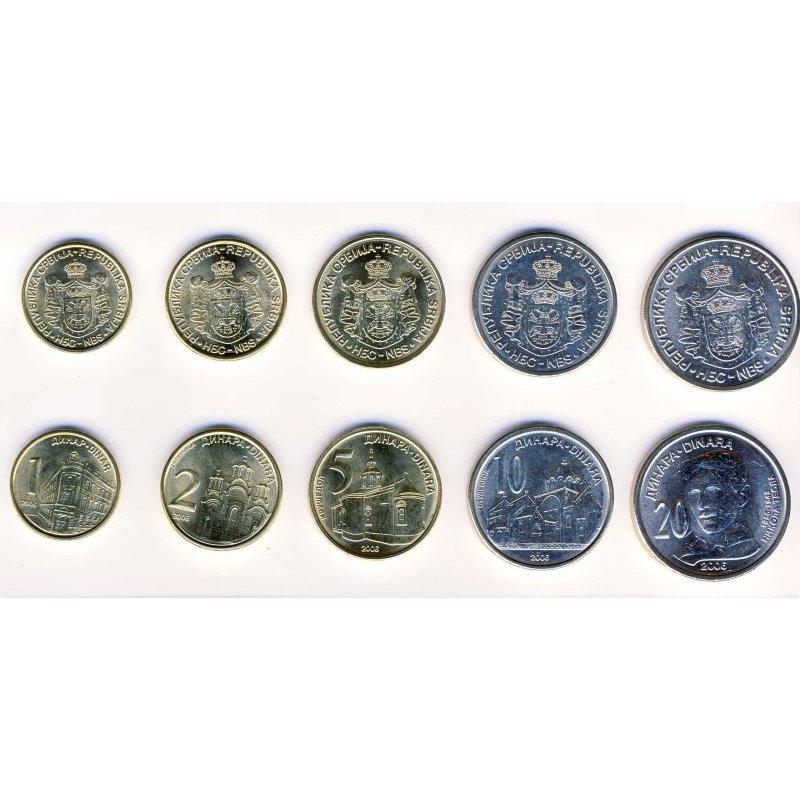 Kms Serbien 2006 1 Dinar 20 Dinara 5 Münzen 468