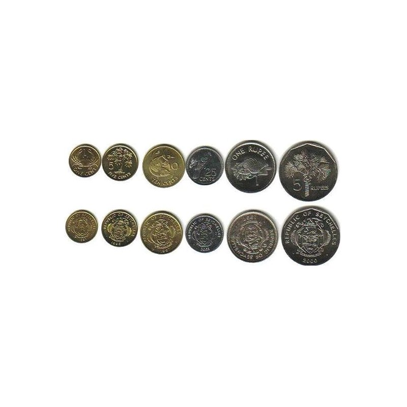 Kms Seychellen 2004 2012 1 Cent 5 Rupien 6 Münzen 346 Eur