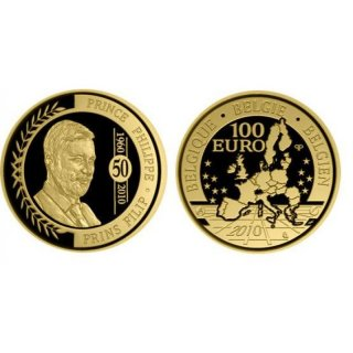 100 Euro Gold Belgien 2010 PPPrince Philippe